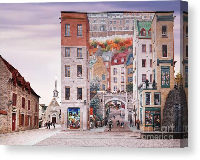 La Fresque Des Quebecois Wall Mural In Old Quebec City Canvas Print