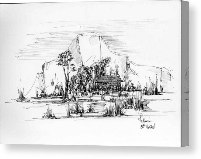Landscape Canvas Print featuring the drawing Landscape 1 by Padamvir Singh