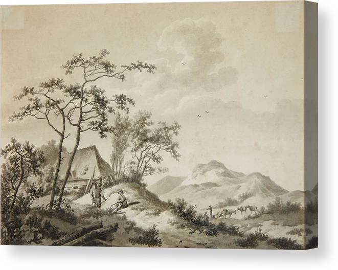 Barend Cornelis Koekkoek Canvas Print featuring the painting Landscape With Three Ramblers by Koekkoek