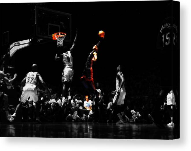 4806583bdbe4 Lebron James Canvas Print featuring the mixed media Lebron James Witness by Brian  Reaves