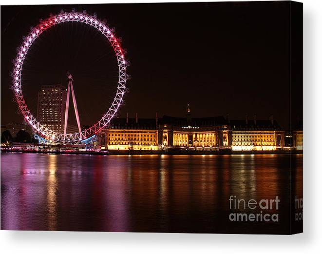 London Eye At Night Canvas Print featuring the photograph London Eye At Night by Adam Sworszt