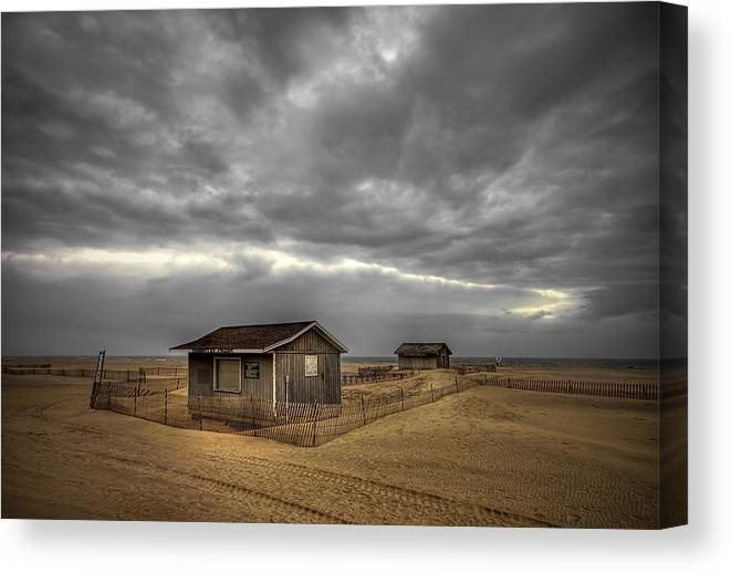 Beach Canvas Print featuring the photograph Lonely Beach Shacks by Evelina Kremsdorf