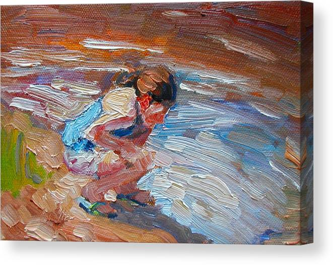 Child Canvas Print featuring the painting Looking For Pollywogs by Kathy Busillo