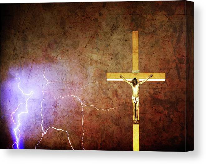Lightning Canvas Print featuring the photograph Lord Have Mercy - Crucifixion Of Jesus -2011 by James BO Insogna