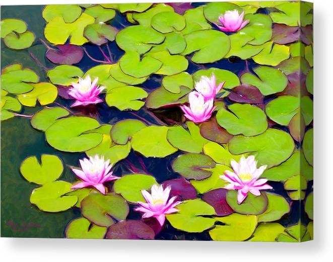 Lilypads Canvas Print featuring the painting Lotus Blossom Lily Pads by Alice Schear