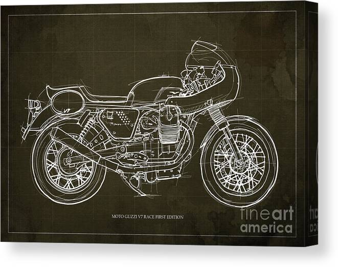 Moto Guzzi Canvas Print featuring the digital art Moto Guzzi V7 Race First Edition Blueprint Blue Background,gift For Bikers by Drawspots Illustrations