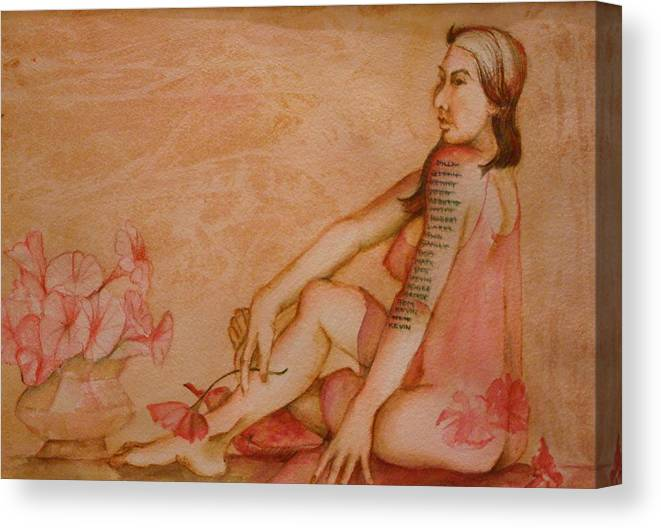 This Painting Depicts Humor Once Reserved For The Male. The Nude Woman In Translucent Ngliglee Sports A List Of Tatoos Of Her Lovers. Last Would Be 'next'. Hues Of Pinks And Browns. Canvas Print featuring the painting Next by Georgia Annwell