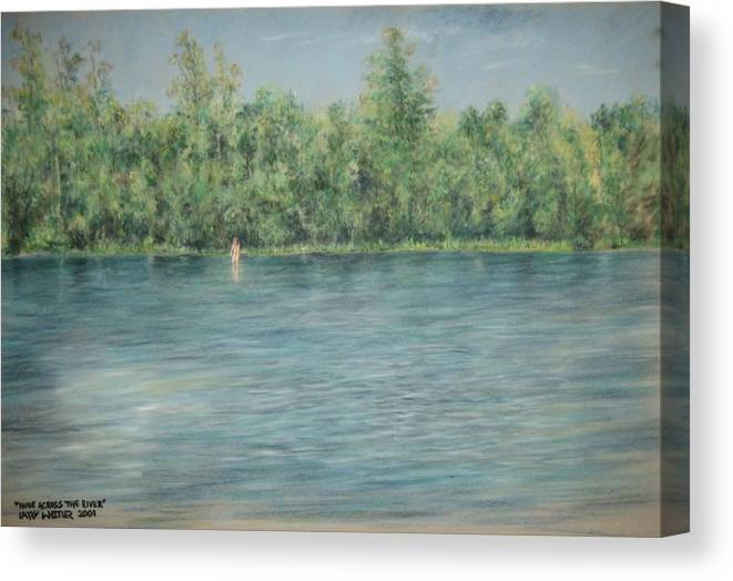 Nude Canvas Print featuring the pastel Nude Across The River by Larry Whitler