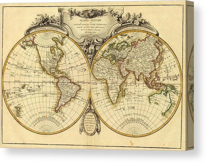 Old Fashioned World Map - 1782 Canvas Print / Canvas Art by ... on