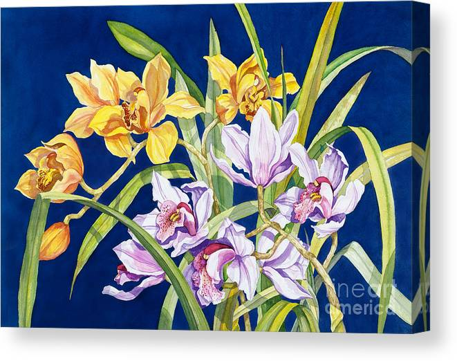 Orchids Canvas Print featuring the painting Orchids In Blue by Lucy Arnold