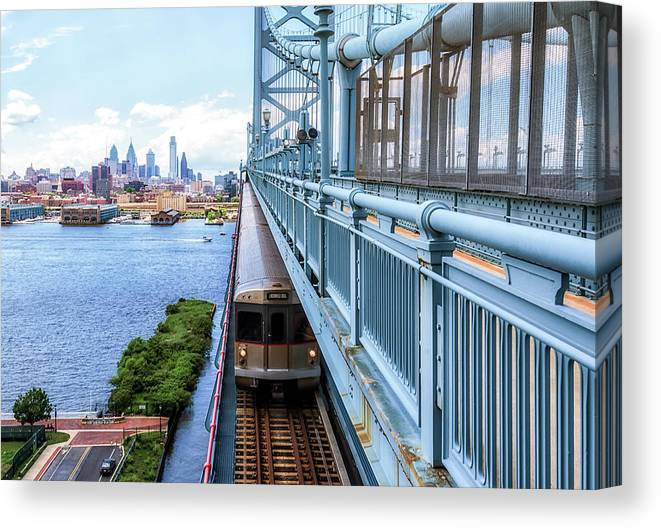 Philly Canvas Print featuring the photograph Philly From The Bridge by Carol Ward