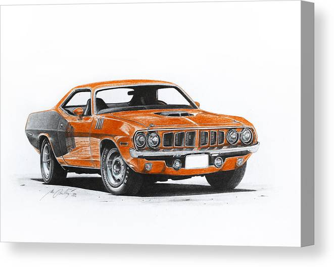 1973 Plymouth Barracuda Canvas Print featuring the drawing Plymouth Barracuda 1973 Hemi Cuda by Miro Porochnavy