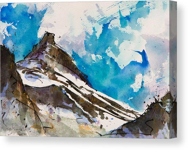 Mountain Canvas Print featuring the painting Pushing Through by Joel Sinclair