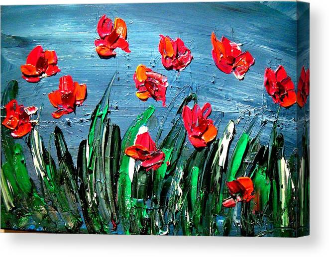 Flowers Canvas Print featuring the painting Red Poppies by Mark Kazav