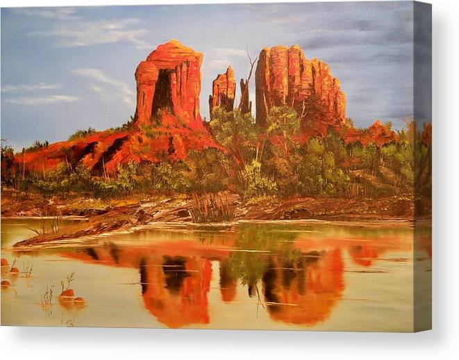 Rocks Canvas Print featuring the painting Red Rock by Patrick Trotter