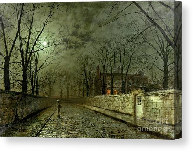 Silver Moonlight Canvas Print featuring the painting Silver Moonlight by John Atkinson Grimshaw