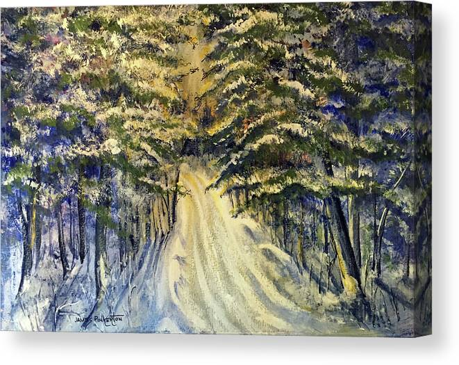 Snowy Lane Canvas Print featuring the painting Snowy Lane by James Pinkerton