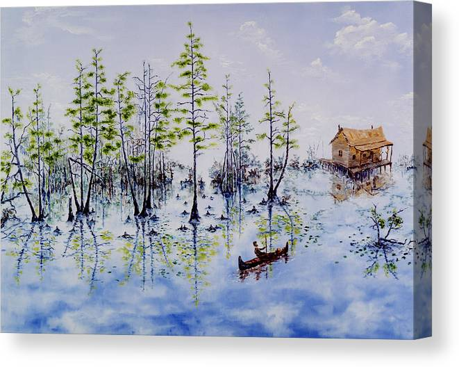 Swamp Canvas Print featuring the painting Spanish Moss by Richard Barham
