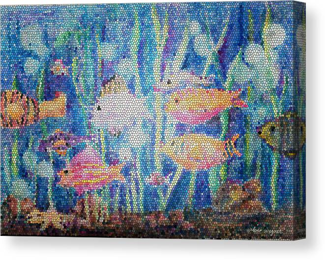 Fish Canvas Print featuring the mixed media Stained Glass Fish by Arline Wagner