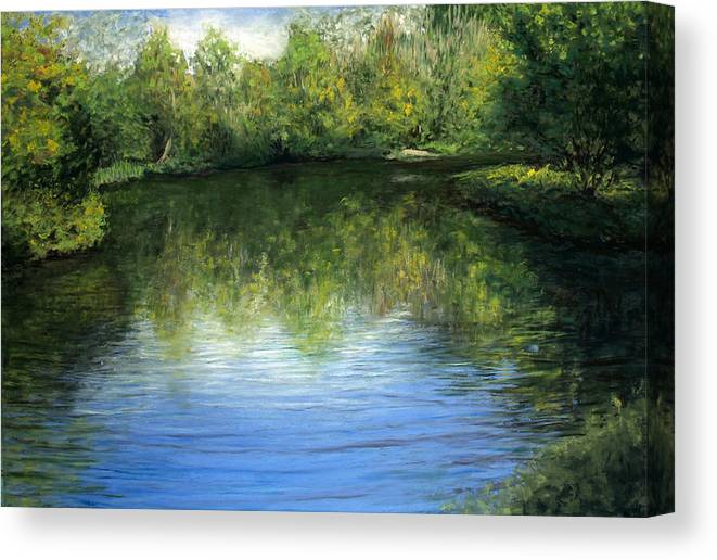 Landscape Canvas Print featuring the painting Summer River by Susan Jenkins