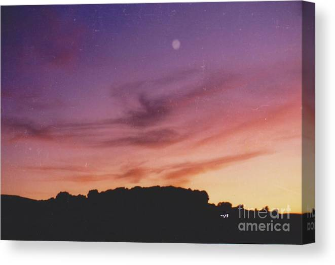 Sunset Canvas Print featuring the photograph Sunset And Moonrise by Mia Alexander