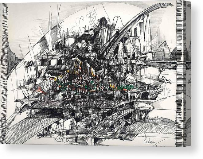 Roads Canvas Print featuring the drawing Surrealscape 2 by Padamvir Singh