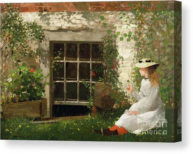 The Canvas Print featuring the painting The Four Leaf Clover by Winslow Homer