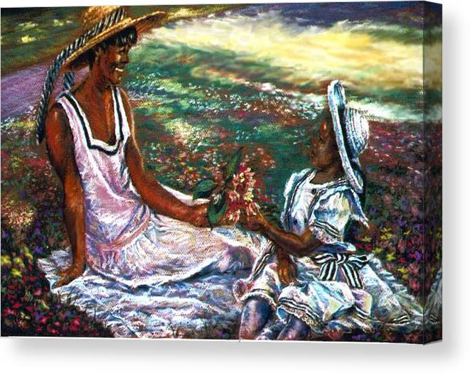 Children Canvas Print featuring the painting The Gift by Tommy Winn