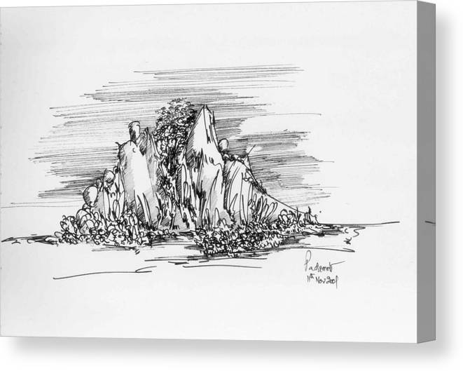 Hill Canvas Print featuring the drawing The Hill by Padamvir Singh