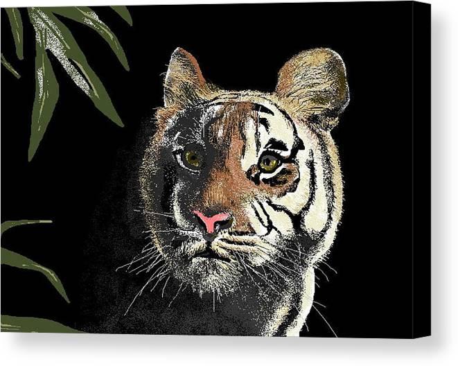 Tiger Canvas Print featuring the digital art Tiger by Carole Boyd