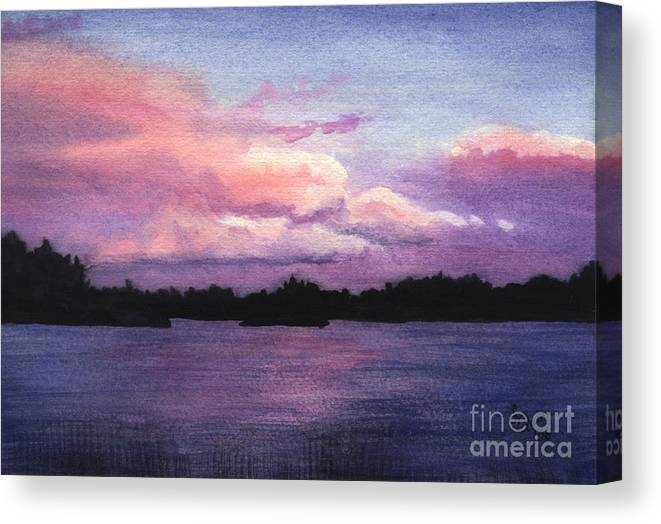 Landscape Canvas Print featuring the painting Trout Lake Sunset I by Lynn Quinn