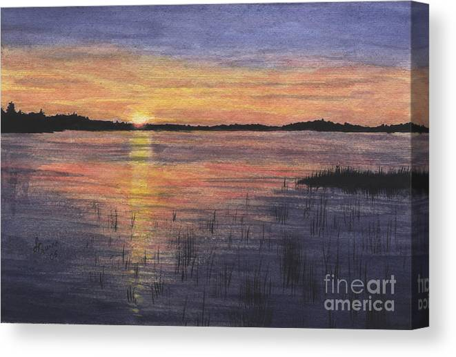 Landscape Canvas Print featuring the painting Trout Lake Sunset II by Lynn Quinn