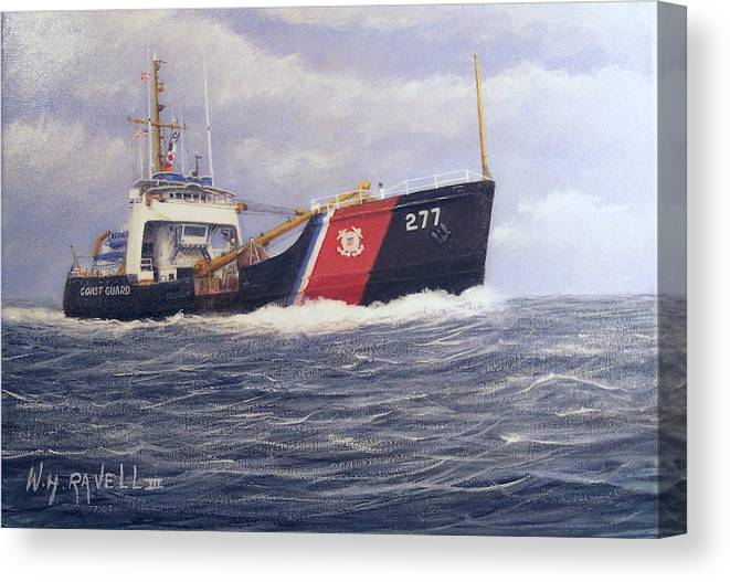 Seascape Canvas Print featuring the painting U. S. Coast Guard Buoy Tender by William H RaVell III
