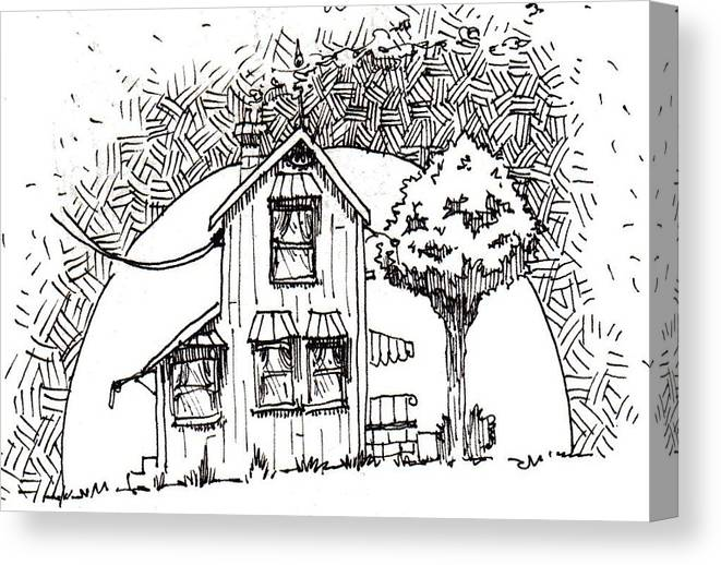 House Canvas Print featuring the drawing Untitled by Tobey Anderson