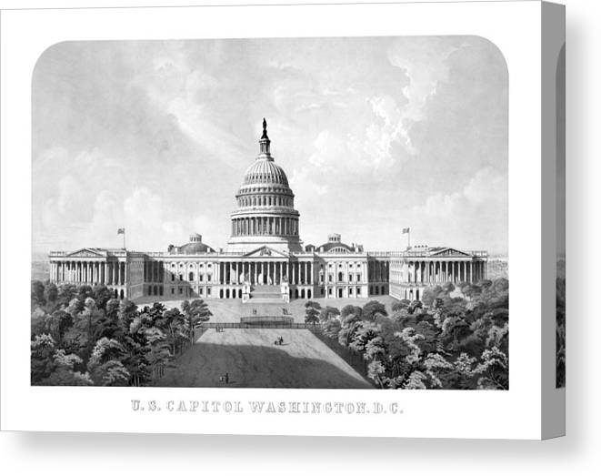 Capitol Canvas Print featuring the mixed media Us Capitol Building - Washington Dc by War Is Hell Store