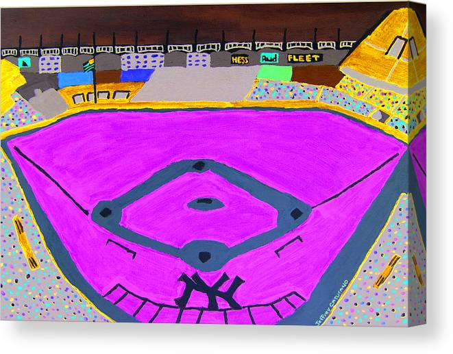 Yankee Stadium Canvas Print featuring the painting Yankee Stadium by Jeff Caturano