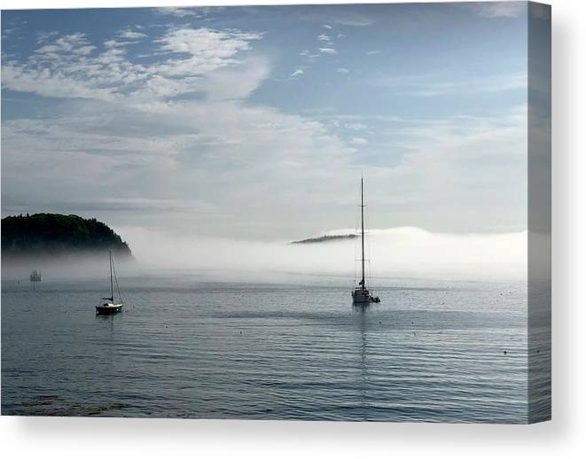 Seascape Canvas Print featuring the photograph Morning Mist On Frenchman's Bay by Dick Goodman