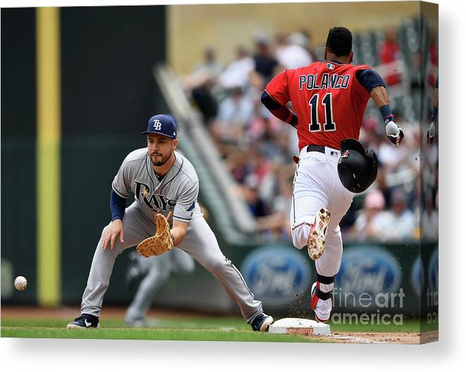People Canvas Print featuring the photograph Tampa Bay Rays V Minnesota Twins 11 by Hannah Foslien