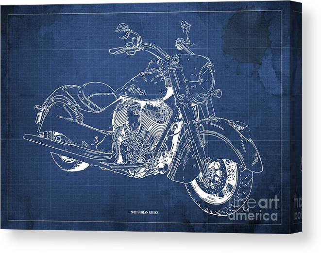 2018 Indian Chief Canvas Print featuring the digital art 2018 Indian Chief Blueprint, Vintage Blue Background, Giftideas by Drawspots Illustrations