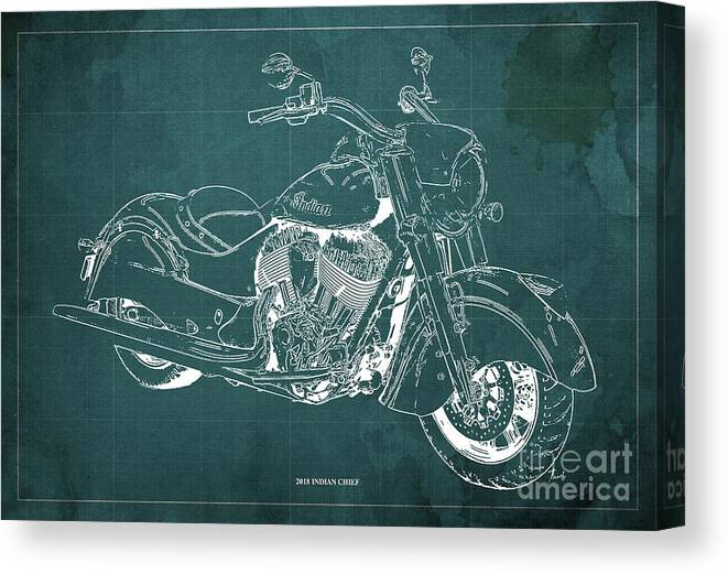 2018 Indian Chief Canvas Print featuring the digital art 2018 Indian Chief Blueprint, Vintage Green Background, Giftideas by Drawspots Illustrations