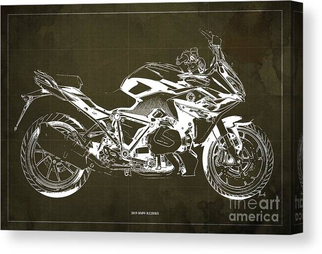 2019 Bmw R1250rs Canvas Print featuring the digital art 2019 Bmw R1250rs Blueprint, Brown Background by Drawspots Illustrations