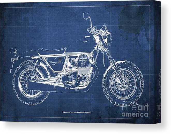 2019 Canvas Print featuring the digital art 2019 Moto Guzzi V9 Bobber Sport Blueprint, Mid Century Blue Background by Drawspots Illustrations