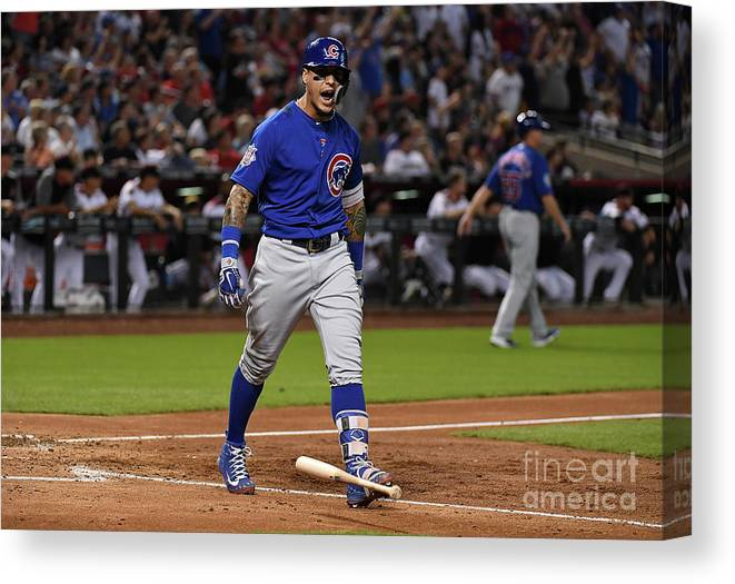 People Canvas Print featuring the photograph Chicago Cubs V Arizona Diamondbacks by Norm Hall