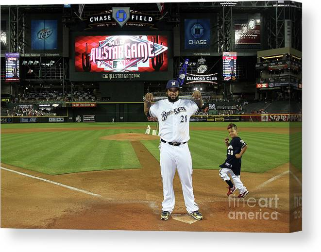American League Baseball Canvas Print featuring the photograph 82nd Mlb All-star Game by Jeff Gross