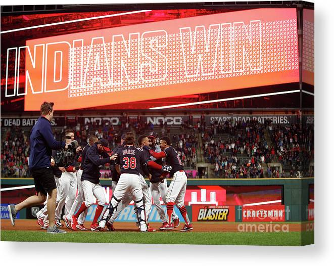 People Canvas Print featuring the photograph Boston Red Sox V Cleveland Indians 9 by David Maxwell