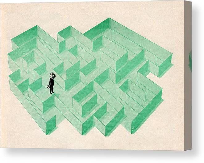 Confusion Canvas Print featuring the digital art Businessman Trapped In Maze by Graphicaartis