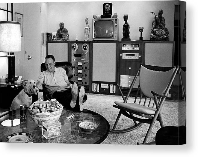 Pets Canvas Print featuring the photograph Entertainer Frank Sinatra Relaxing W by John Dominis