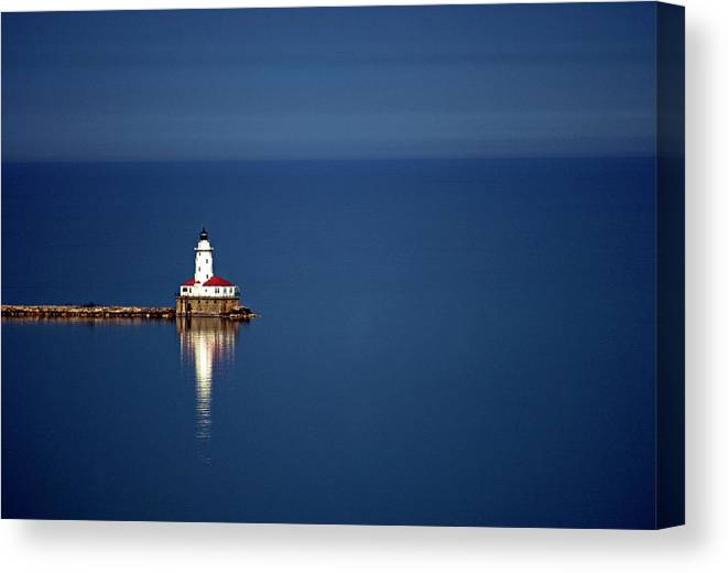 Outdoors Canvas Print featuring the photograph Lighthouse On A Lake by By Ken Ilio