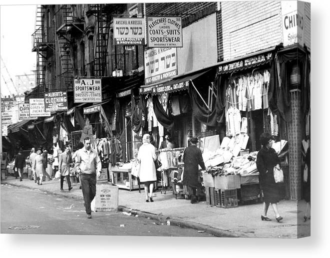 Usa Canvas Print featuring the photograph Orchard Street Market On The Lower East by New York Daily News Archive