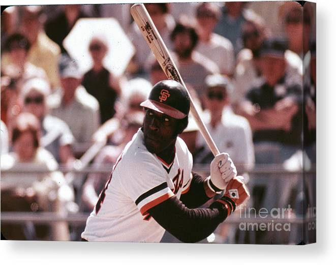 Candlestick Park Canvas Print featuring the photograph San Francisco Giants by Mlb Photos